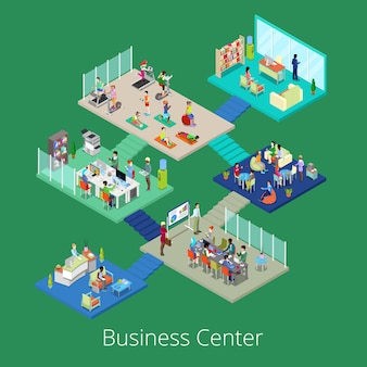Isométrica business office center edificio interior con sala de conferencias y gimnasio.