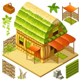 Isométrica cabaña de paja con valla de mimbre.
