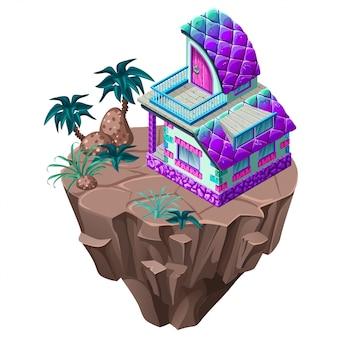 Isométrica cabaña de piedra en la isla.