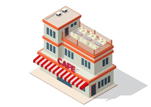 Isométrica de una cafetería o cafetería.