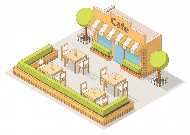 Isométrica calle café interior, mesas y sillas, árboles.