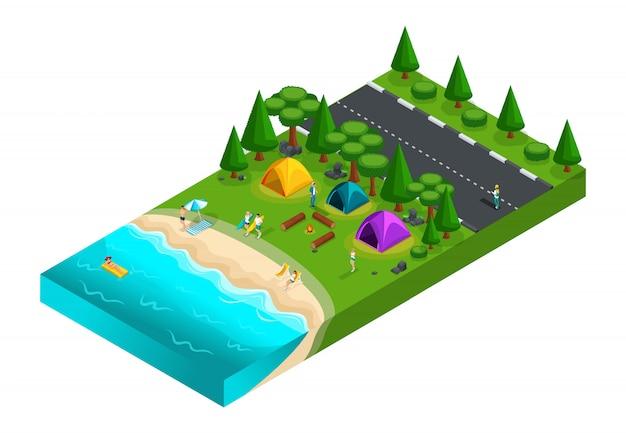 Isométrica de camping, amigos de vacaciones, aire fresco, picnic, en la naturaleza, bosque, mar, playa, orilla del lago, carretera, camping. fin de semana con amigos