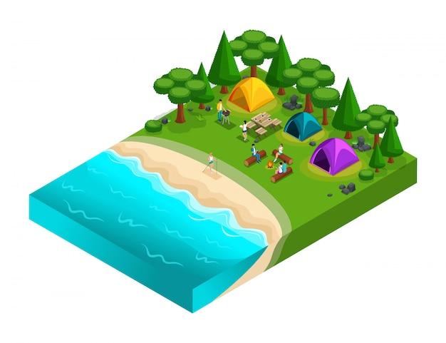 Isométrica de camping, amigos de vacaciones, aire fresco, picnic, en la naturaleza, bosque, mar, playa, orilla del lago, orilla del río, camping, kayak. fin de semana con amigos