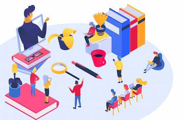 Isométrica capacitación empresarial en línea, personaje de entrenador pequeño de dibujos animados que enseña a estudiantes de negocios en blanco