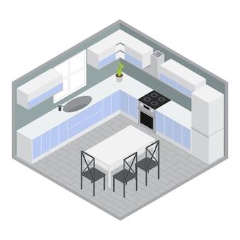 Isométrica casa comedor con armarios y gabinetes azules blancos mesa sillas paredes grises planta ilustración vectorial