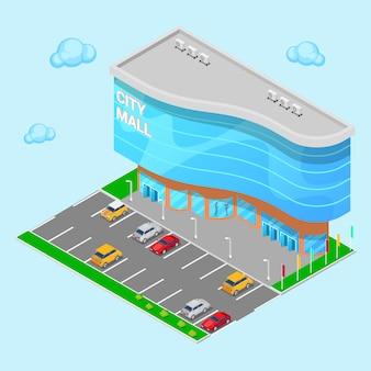 Isométrica centro comercial de la ciudad. edificio moderno centro comercial con zona de estacionamiento. ilustración vectorial