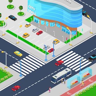 Isométrica centro comercial de la ciudad. edificio moderno centro comercial con zona de estacionamiento.