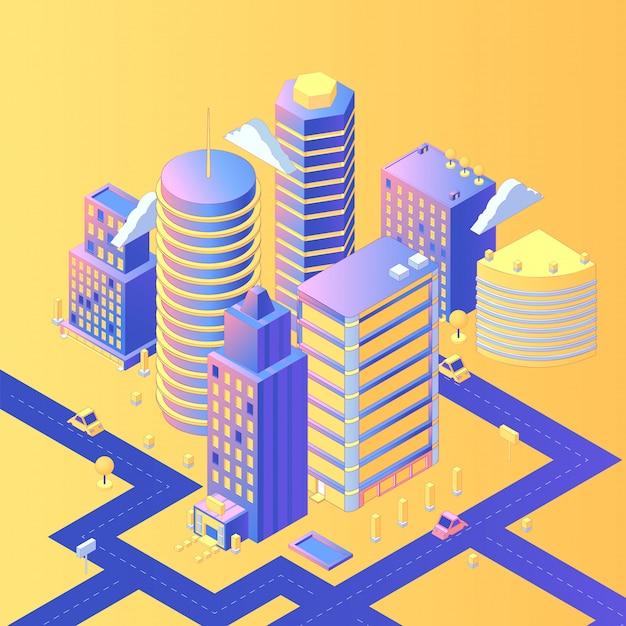 Isométrica ciudad futurista