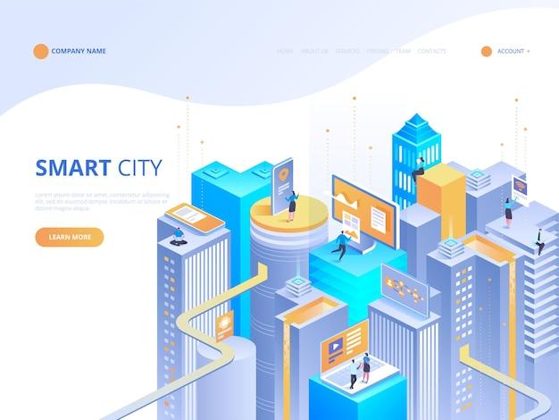 Isométrica de ciudad inteligente. edificios inteligentes. calles de la ciudad conectadas a la red informática. concepto de internet de las cosas. centro de negocios con rascacielos.