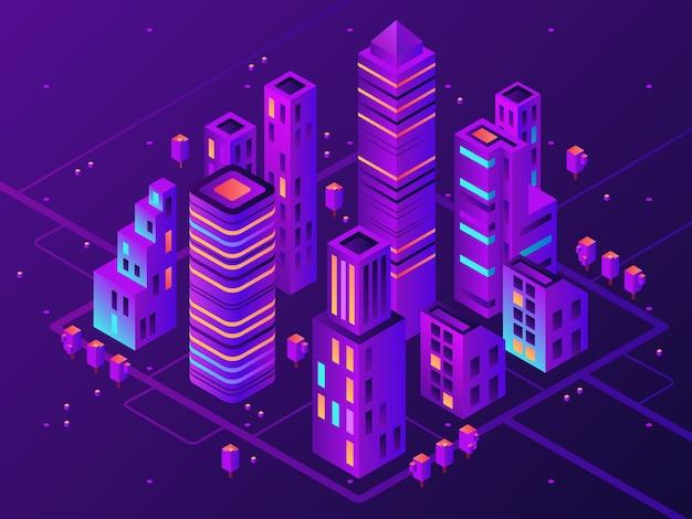 Isométrica ciudad de neón. ciudad iluminada futurista, futura iluminación de la autopista megapolis y distrito comercial ilustración vectorial 3d