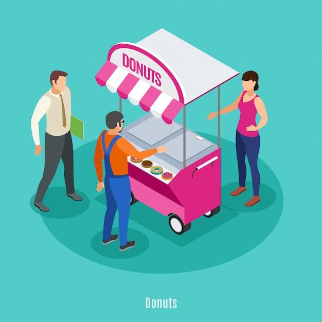 Isométrica de comercio callejero con vendedor femenino cerca de carrito de comida y dos personas varones comprando donas ilustración vectorial