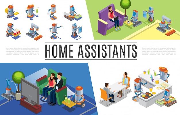Isométrica composición de asistentes de hogar robóticos con robots de limpieza reparando cocina casera regando plantas haciendo trabajo de camarero y cartero