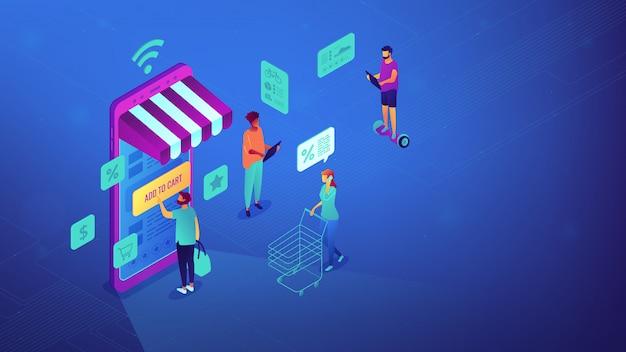 Isométrica de compras en línea y la ilustración de wi-fi.