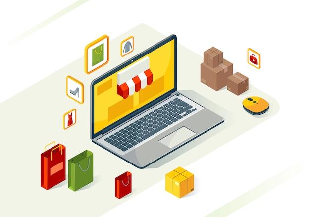 Isométrica de compras en línea