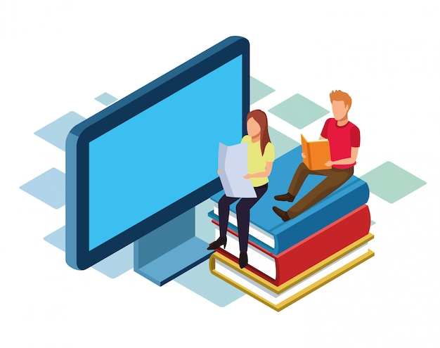 Isométrica de la computadora y el hombre y la mujer sentada sobre una pila de libros sobre fondo blanco.