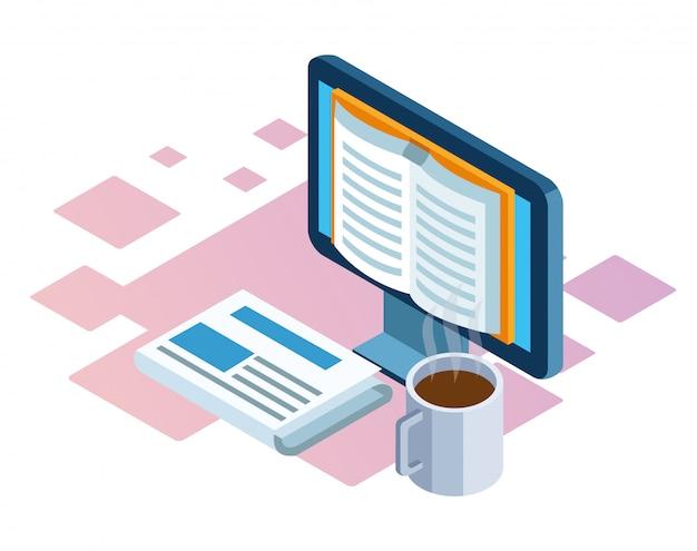 Isométrica de computadora, periódico y taza de café sobre fondo blanco.