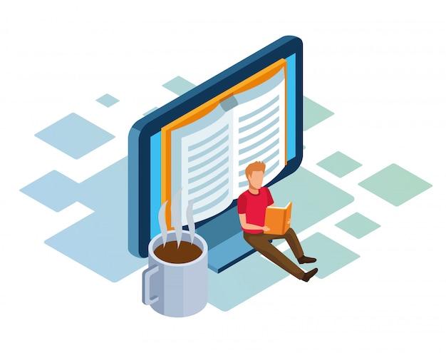 Isométrica de computadora, taza de café y hombre sentado y leyendo un libro sobre fondo blanco.