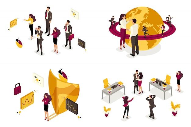Isométrica del concepto de procesos de negocio para dominar el mundo, la contratación de personal para el comando.