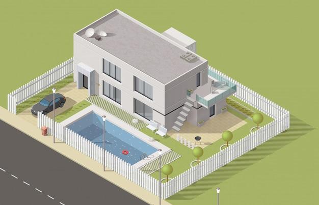Isométrica construcción de casas, cabaña
