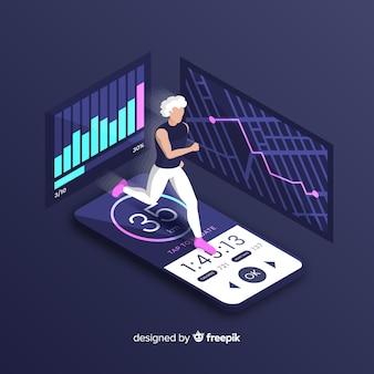 Isométrica corriendo infografía aplicación móvil