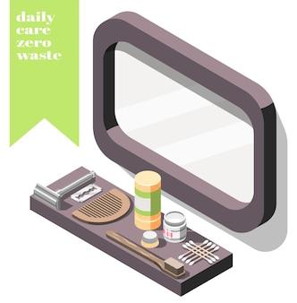 Isométrica con cosméticos ecológicos de desperdicio cero y artículos personales en el estante debajo del espejo 3d
