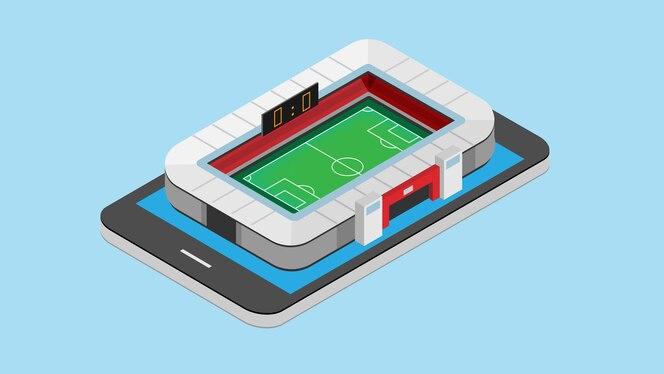 Isométrica del estadio de fútbol en el teléfono inteligente.