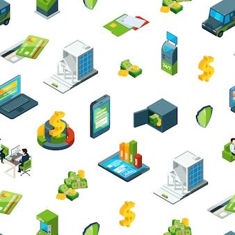 Isométrica, dinero, en, banco, iconos, patrón, ilustración