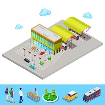 Isométrica de la estación de autobuses de la ciudad con autobuses, estacionamiento y personas