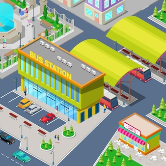 Isométrica estación de autobuses de la ciudad con autobuses, zona de aparcamiento, restaurante y parque.