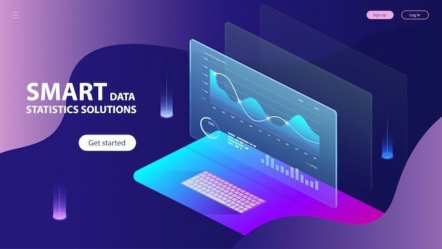 Isométrica de estadísticas de análisis de datos inteligentes