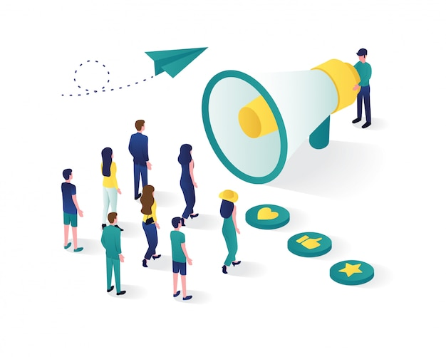 Isométrica de la estrategia de marketing digital. perfecto para sitios web y aplicaciones