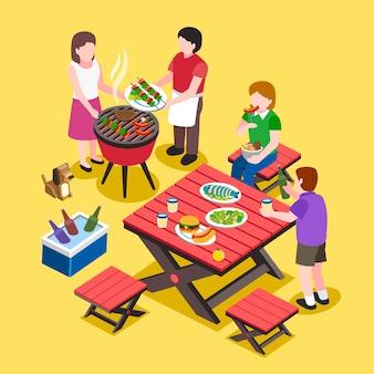 Isométrica - fiesta de barbacoa con amigos