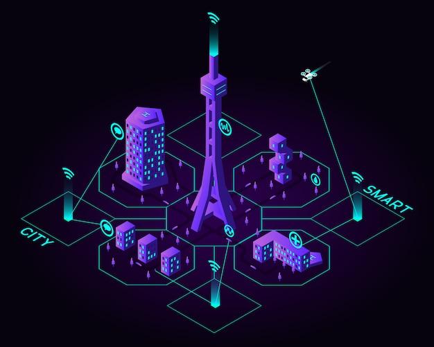 Isométrica futura ciudad inteligente