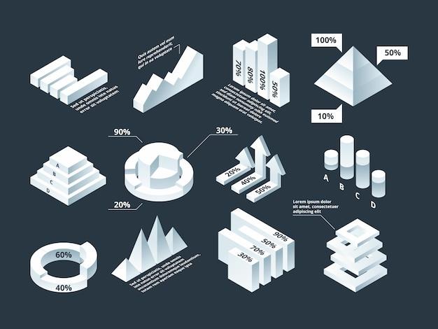 Isométrica gráfica diagrama de negocios de infografía gráficos estadísticas formas plantilla de infografía vacía