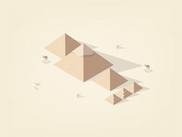 Isométrica de la gran pirámide giza de egipto