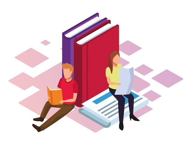 Isométrica de grandes libros y mujer y hombre leyendo sobre fondo blanco.