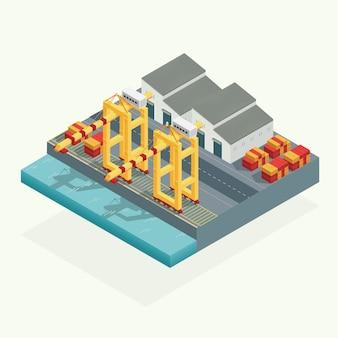 Isométrica, grúa de carga portuaria y contenedor de almacén en el transporte marítimo. ilustración vectorial