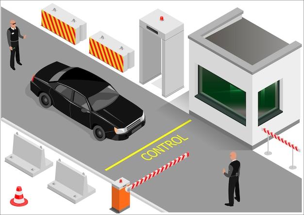 Isométrica guardias de construcción o punto de aduana. zona de transporte de entrada. gráficos vectoriales