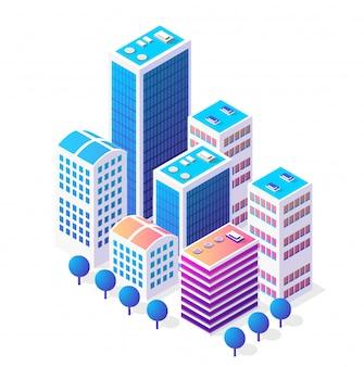 Isométrica icono 3d área urbana de la ciudad con muchas casas