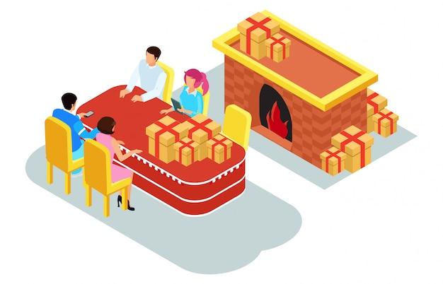 Isométrica ilustración celebración de navidad