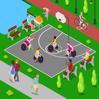 Isométrica de juegos infantiles de baloncesto. personas con discapacidad jugando baloncesto en el parque. ilustración vectorial