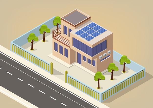 Isométrica moderna casa ecológica verde con paneles solares