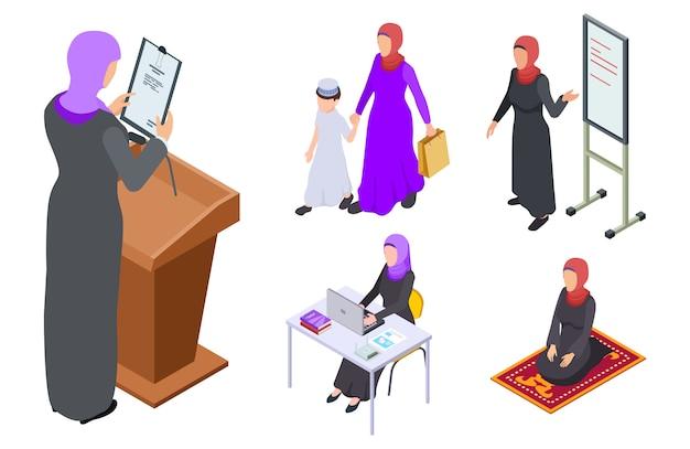 Isométrica mujer árabe diseño vectorial.