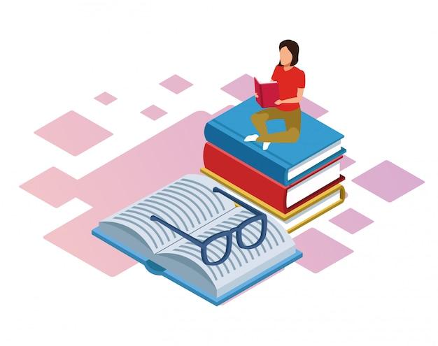 Isométrica de mujer sentada en la pila de libros y libro con gafas sobre fondo blanco.