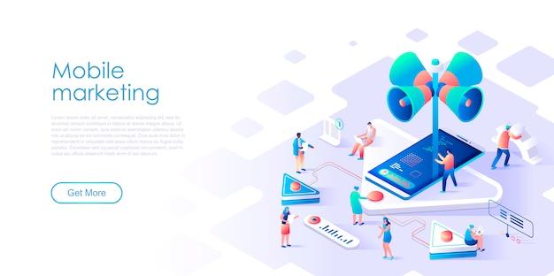 Isométrica página de aterrizaje de marketing móvil o publicidad concepto plano