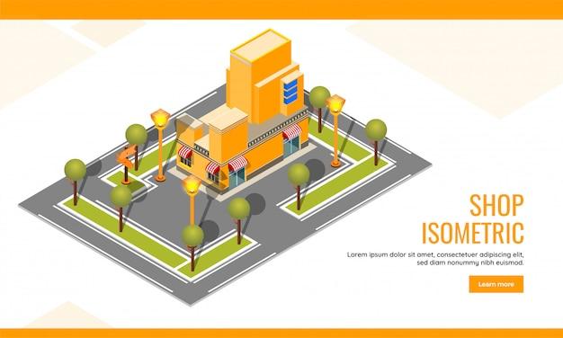Isométrica, página de destino de construcción o plantilla web para diseño de sitios web
