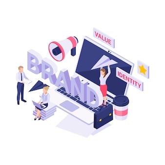 Isométrica con personas que trabajan en la nueva ilustración 3d de estrategia de marca