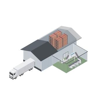 Isométrica de planta industrial. simulación de distribución de plantas de alimentos