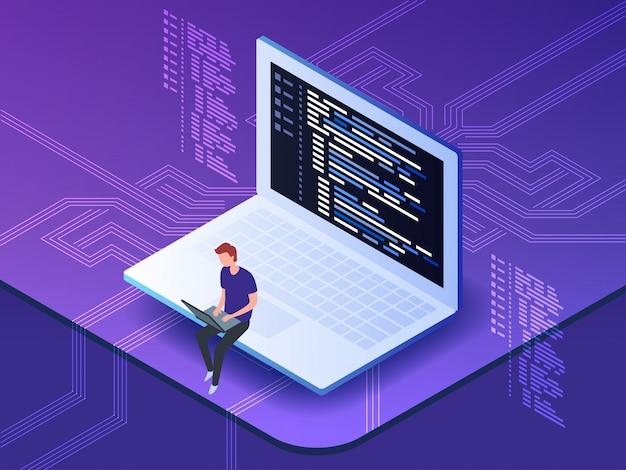 Isométrica del programador joven que codifica un nuevo proyecto usando la computadora.