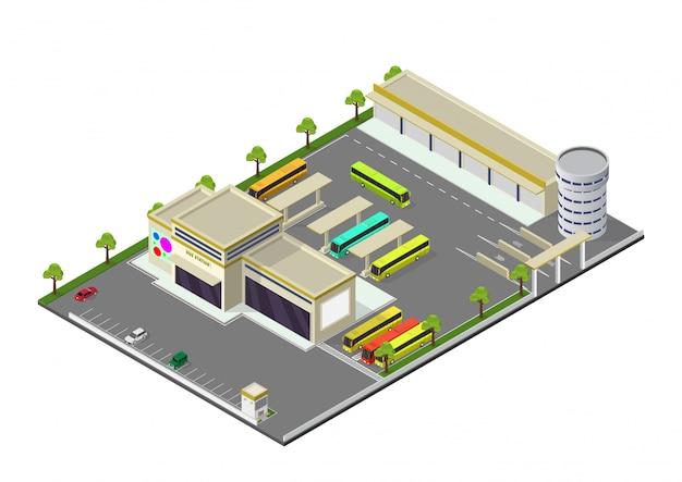 Isométrica que representa la estación de autobuses